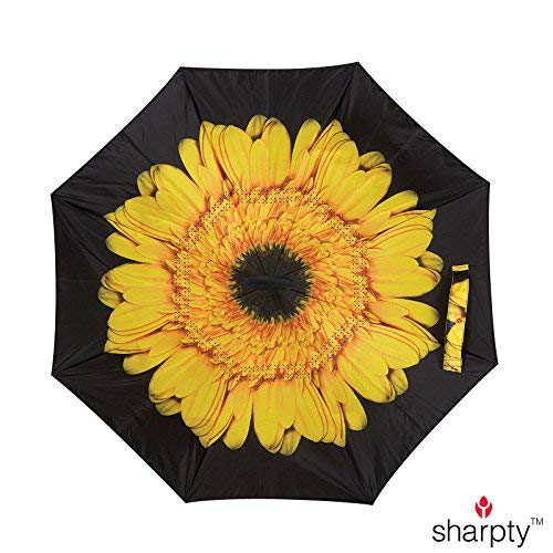 Sharpty Inverted Umbrella, Umbrella Windproof, Reverse Umbrella, Umbrellas for Women with UV Protection, Upside Down Umbrella with C-Shaped Handle (Yellow Flower)