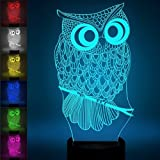 3D Illusion Night Lamp,SUNINESS 7 Colors Change Touch Control LED Desk Table Night Light with Multicolored USB Powered for Kids Children Family Holiday Home Decoration Valentine's Day Best Gift(Owl)