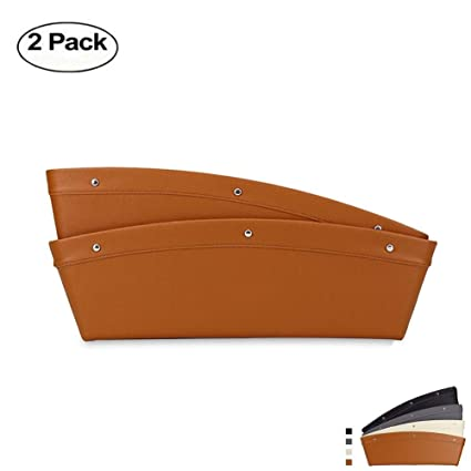 2 Packs TAKSON Car Pocket Organizer Fills The Gap Between The Seats and Console Catcher Seat Gap Filler Stopping Dropping Premium PU Leather Brown