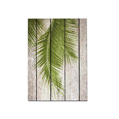 (KODORIA Tropical Green Palm Leaves Wood Background Home Cafe Living Room Decorative Painting Picture Wall Artwork)
