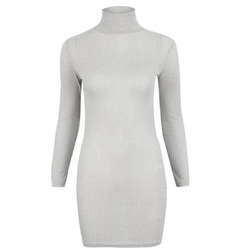 iZHH Womens Sweaters Dress Casual WarmLong Sleeve Jumper Turtleneck Turtleneck