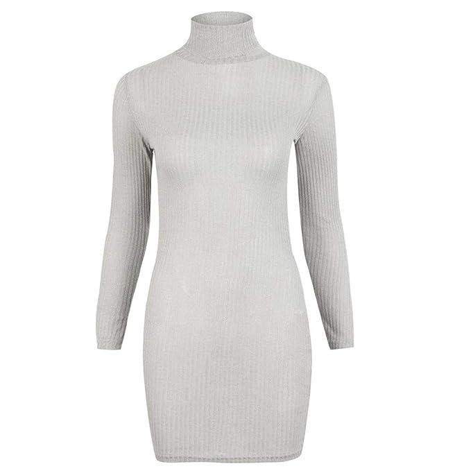 Cebbay Vestido de Punto de Las Mujeres Suéter Cuello Alto Cuello ...