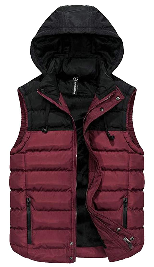 P/&E Men Quilted Sleeveless Winter Hoody Contrast Color Jacket Down Vest