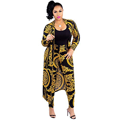 African Clothing Print - Women 2 Piece Club Outfits Long Sleeve Floral Open Front Cardigan and Pants Set (X-Large, Black)