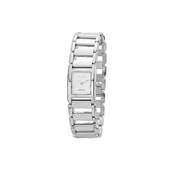 Pandora 811021WH - Reloj analógico de mujer de cuarzo con correa de acero inoxidable plateada