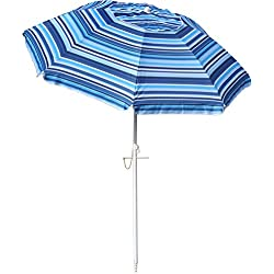Snail 6.5 ft Beach Umbrella Silver Coating Inside UV Protection UPF50+ Fiberglass Ribs with Integrated Sand Anchor, Carry Bag Included, Blue Stripes