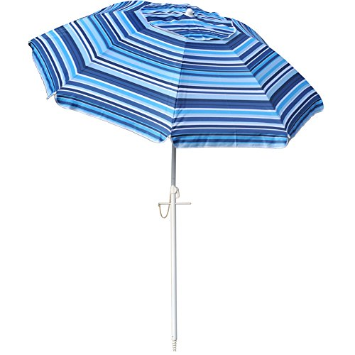 Snail 6.5 ft Beach Umbrella Silver Coating Inside UV Protection UPF50+ Fiberglass Ribs with Integrated Sand Anchor, Carry Bag Included, Blue (6.5' Polyester Beach Umbrella)