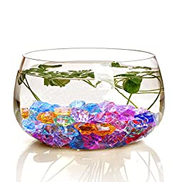 Bestgle 100Pcs 8.5OZ Fish Bowl Decoration Ornament Glass Beads Acrylic Crystals Gems Ice Rocks for Table Scatter, Vase Filler, Event, Wedding, Arts, Crafts & Fish Tank, Colorful