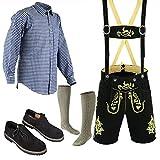 Bavarian Oktoberfest Trachten Lederhosen Above knee shorts shirt shoe and socks (34, Pure black)