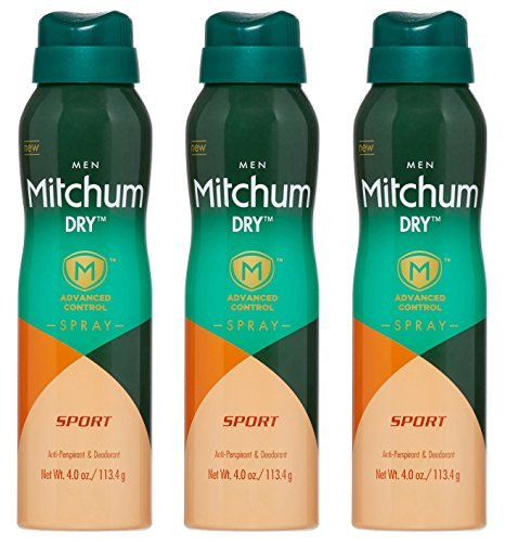 Mitchum for Men Anti-Perspirant & Deodorant - Dry Spray - Advanced Control - Sport Scent - Net Wt. 4 OZ (113.4 g) Per Can - Pack of 3 ()