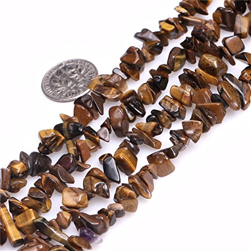 5-8mm Tiger Eye Chips Chip Beads Loose Gemstone Beads for Jewelry Making Strand 35 Inch