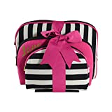 Once Upon A Rose Cosmetic Bag 3 Piece Set, Makeup Organizer, Toiletry Pouch, for Brushes, Pencil Case, Accessories, Travel, Girls, Gift Idea (Love & Stripes)