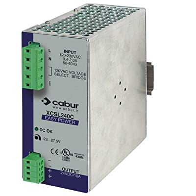 ASI XCSL240C DIN Rail Mount Power Supply, 24 VDC, 240W, 10 amp Output, 90 to 264 VAC Input