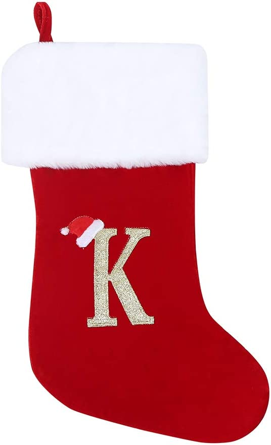 wlflash 20 Inches Super Soft Plush Monogram Christmas Stockings Xmas Personalized Stocking Embroidered Letter Decoration for Decor - Embroidered Letter (K)