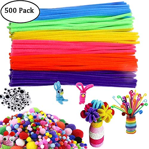 Pipe Cleaners Craft Set Meiso 500 Pcs Craft Supplies Including 100 Pcs Chenille Stems with 250 Pcs Pom Poms Craft and 150 Pcs Wiggle Googly Eyes Self Adhesive Assorted Colors Sizes for DIY Art Craft]()
