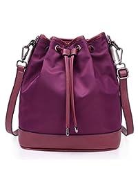 Katoony Womens Waterproof Nylon Drawstring Bucket Shoulder Handbag Casual Crossbody Bag Satchel Purse