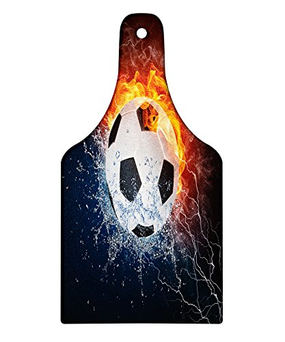 Lunarable Sports Cutting Board, Soccer Ball on Fire and Water Flame Splashing Thunder Strike Abstract Concept Art, Decorative Tempered Glass Cutting and Serving Board, Wine Bottle Shape, Multicolor by Lunarable