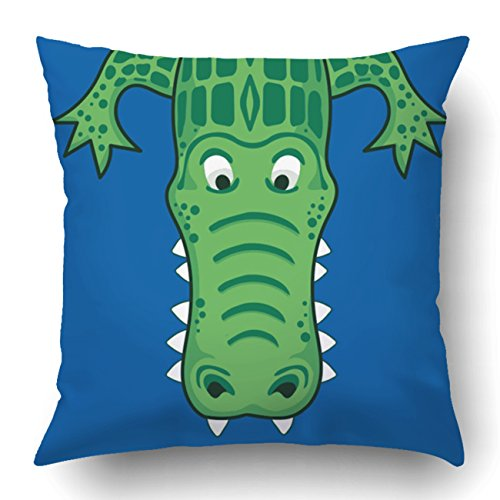 Emvency Pillow Covers Decorative Alligator Tee Shirt Graphics S Bulk With Zippered 18x18 Square Pillow Case For Home Bed Couch Sofa Car One - Shirt Egyptian Teal