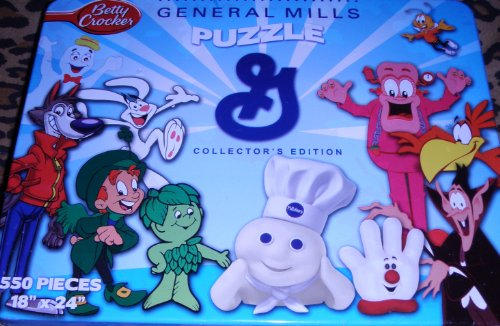 General Mills Breakfast Cereal & Other Characters - Collectors Edition 550 Piece Puzzle Featuring Count Chocula, Trix Rabbit, Lucky From Lucky Charms, Hamburger Helper and The Pillsbury Dough Boy Among ()