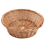 Kingwillow, Wicker Basket Fruit Bread Tray Storage Basket, Fruit bowl, Round Stackable Basket, 2 Pieces.