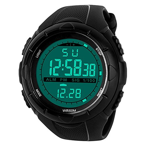 Mens Sports Digital Watch – 5 Bars Waterproof Military Digital Watches with Alarm/Timer/SIG, Black Large Face Outdoor Sport LED Wrist Watch for Men by BHGWR