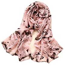 KAKA(TM) Women Fashion Charming Soft Sheer Scarf Large Beach Shawl Scarves(Pink)