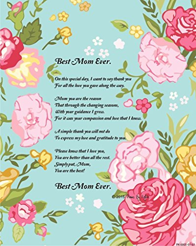 Mother's Day Gift for Mom, Best Mom Ever Poem 8x10 Single ...