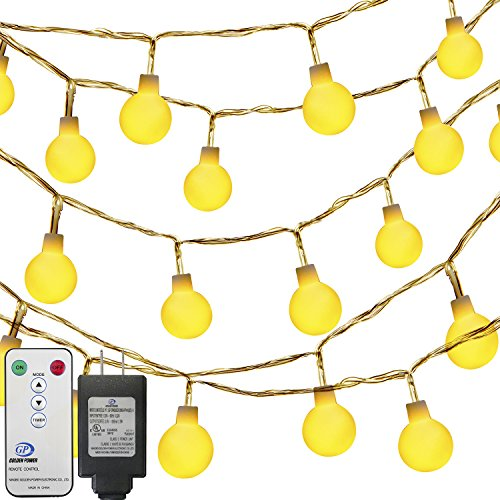 Globe String Lights,Oak Leaf LED Ball Stirng Lights Starry Fairy Light 41ft 100 LEDs 8 Lighting Modes with Remote Controller for Patio,Garden,Xmas Party,Wedding Decoration,UL 3V Power Adapter