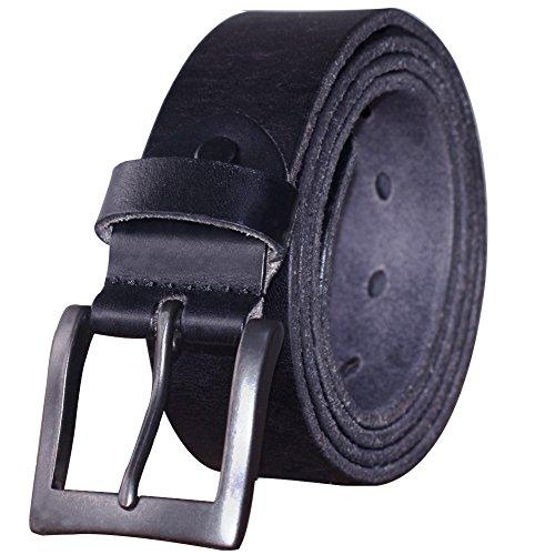 35 Leather (PAZARO Men's Super Soft Top Grain 100% Leather Belt Black Color)