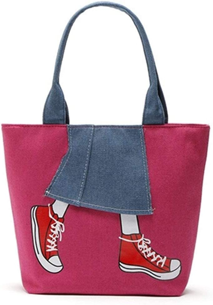 ERNANGUA Women Messenger Bags Lady Canvas Cartoon Denim Skirt Printed Shoulder Bags Large Capacity Female Handbags Casual Tote Color : Rose red, Size : 32x26x12cm