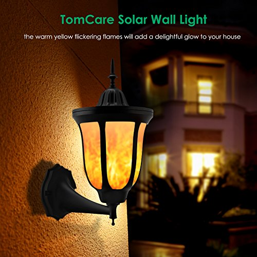 Tomcare Solar Lights Flickering Flames Wall Lights 96 Led