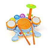 Buddy fun Electronic Frog Drum Beat Set with Kids Follow the Blinking lights to keep to the Beat