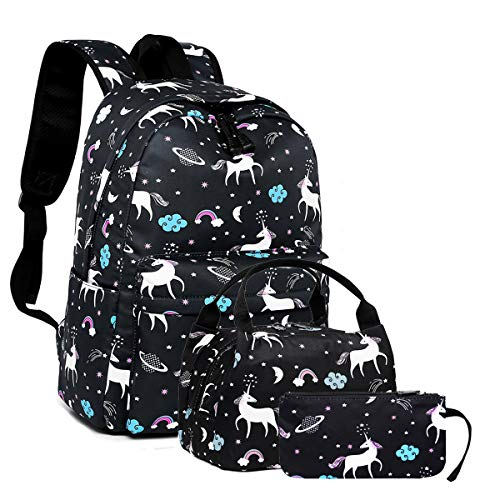 Lmeison Backpack School Bag, Shoulder Bag with Lunch Bag and Pencil Case, 3 in 1 Animal Cartoon Bookbags for 14Inch Laptop Daypack Travel Bag for Teens Girls