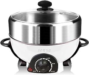 Sonya SYHP-1A Multi-Functional Non Stick Electric Shabu shabu Hot Pot 4-in-1 Super Cooker, Bonus BBQ Grill Pan
