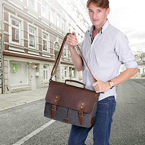 6101e2d33 Wowbox Messenger Satchel bag for men and women,Vintage canvas real leather  14-inch