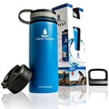 Liquid Savvy 18oz Insulated Water Bottle with 3 lids - Stainless Steel, Wide Mouth Double Walled Vacuum Insulated Bottle for Hot and Cold Beverages (Blue)