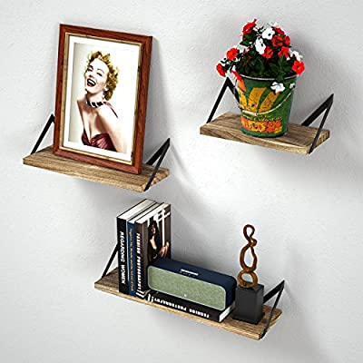 Floating Shelves Wall Mounted Set of 3, Rustic Wood Wall Mount Shelves for Bedroom, Bathroom, Living Room, Kitchen(Carbonized Black) - EYE-CATCHING VINTAGE SHELVES - Combining torched wood and black metal bracket, these wall shelves add a retro style to your room while accenting your treasured items; Perfect for bedroom, living room, kitchen, bathroom, office and more. SPACE-SAVING & VERSATILE WALL SHELVES - Reduce clutter in a small space by elegantly displaying collectibles, trophy, photo phrame, books, small plants and more; use the shelves to hold beauty products in the bathroom , exhibit family photos in a gallery style in the hallway, or showcase near the fireplace, wall corner, or in the kitchen to hold spices and jars. THE CHOICE IS YOURS - The solid wood shelves are specially designed to be installed in two ways. Install these shelves with the board on top of the brackets or below, whatever suits your taste. With numbered parts, detailed instructions, and ready in only a few simple steps, you can easily have these wall shelves set up. - wall-shelves, living-room-furniture, living-room - 51IIyT9QInL. SS400  -