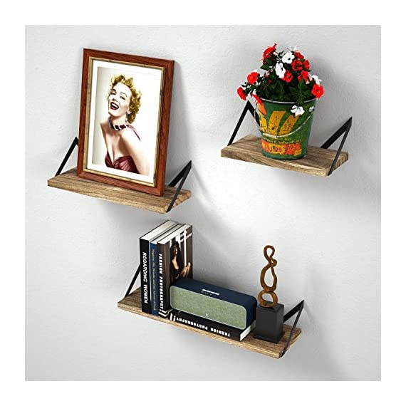 Floating Shelves Wall Mounted Set of 3, Rustic Wood Wall Mount Shelves for Bedroom, Bathroom, Living Room, Kitchen(Carbonized Black) - EYE-CATCHING VINTAGE SHELVES - Combining torched wood and black metal bracket, these wall shelves add a retro style to your room while accenting your treasured items; Perfect for bedroom, living room, kitchen, bathroom, office and more. SPACE-SAVING & VERSATILE WALL SHELVES - Reduce clutter in a small space by elegantly displaying collectibles, trophy, photo phrame, books, small plants and more; use the shelves to hold beauty products in the bathroom , exhibit family photos in a gallery style in the hallway, or showcase near the fireplace, wall corner, or in the kitchen to hold spices and jars. THE CHOICE IS YOURS - The solid wood shelves are specially designed to be installed in two ways. Install these shelves with the board on top of the brackets or below, whatever suits your taste. With numbered parts, detailed instructions, and ready in only a few simple steps, you can easily have these wall shelves set up. - wall-shelves, living-room-furniture, living-room - 51IIyT9QInL. SS570  -