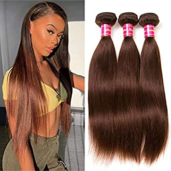 Image of Health and Household Aphro Hair Brown Straight Hair Bundles Brazilian Human Hair Weave Bundles Remy Hair Extensions 4# Light Brown Hair (20 22 24)