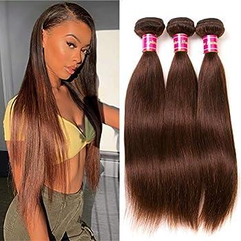 Health and Household Aphro Hair Brown Straight Hair Bundles Brazilian Human Hair Weave Bundles Remy Hair Extensions 4# Light Brown Hair (20 22 24)