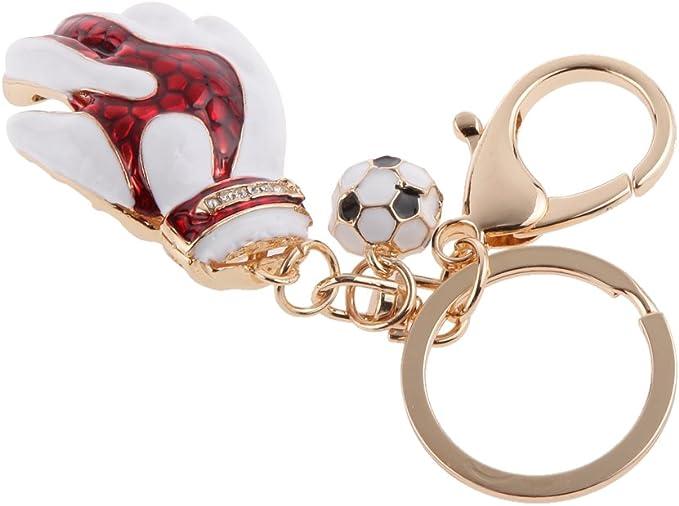 Juguetes Colgantes Llaveros Diamantes de Imitaci/ón Cristal Guantes de Portero F/útbol Rojo Blanco