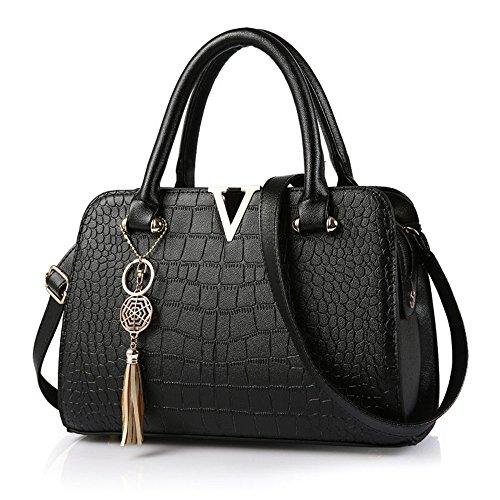 Xuanbao La Bolsa de Asas Simple del Hombro de la Manera roja del Bolso de Señora Fashion Simple Casual Messenger Bag del Hombro (Color : Negro) Negro