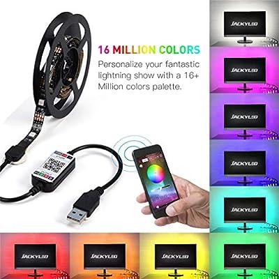MEIYANG LED Smart TV Backlight Strip Inteligente Bluetooth Control Inducción De Música Alimentado por USB 6.56 Ft (2M) 60 Leds 5V Iluminación De Cine En Casa con Compensación A Prueba De Agua: