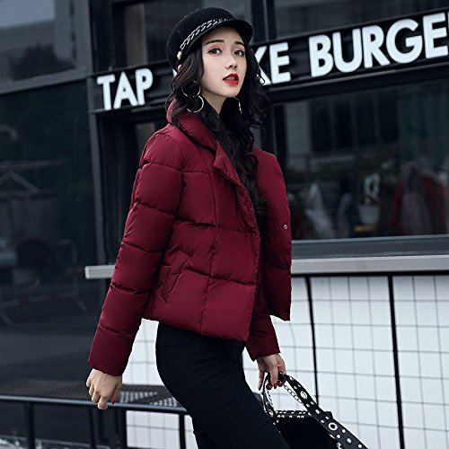 Xuanku Loose Cotton Clothing Autumn And Winter Bread High Collar Cotton Coat Jacket Women Short, Thickening The Thin Cotton Algeria Red wine