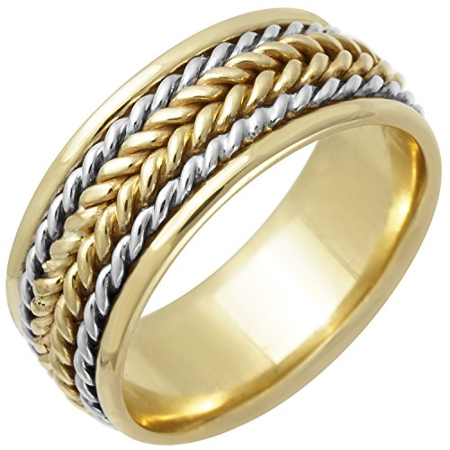 18K Two Tone (White and Yellow) Gold Braided Rope Edge Women's Comfort Fit Wedding Band (8mm) ()