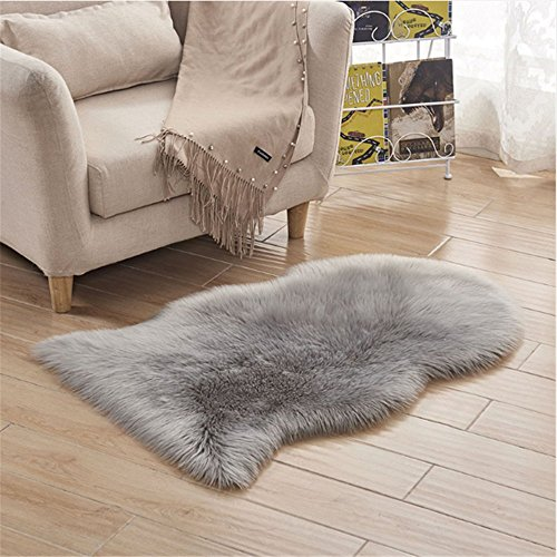 FOLWEP Faux Fur Sheepskin Decorative Rug Couch Chair Cover Seat Pad Plain Shaggy Area Rugs, 23.6 x 35.4 Inch,Grey by FOLWEP