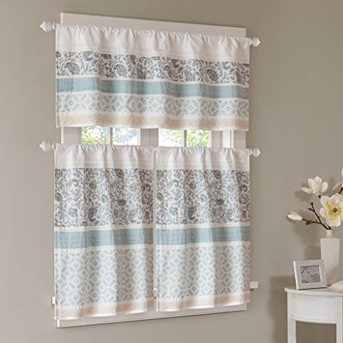 (Madison Park Dawn Kitchen Tier Set Printed and Pieced Small Window Curtain with Rod Pocket Finished, 30x36, Blue, 2)
