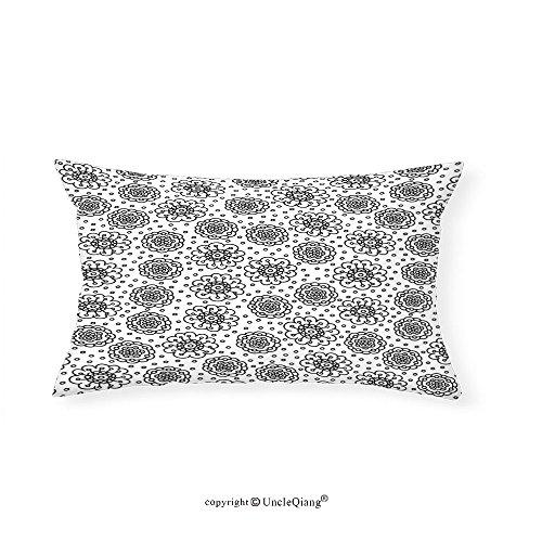 VROSELV Custom pillowcasesFloral Doodle Style Cute Flower Petals Buds Kids Girls Nursery Childish Baby Illustration for Bedroom Living Room Dorm Black White(16''x24'') by VROSELV