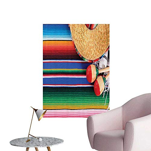 Wall Decals Mexican Artwork with Sombrero Straw Hat Maracas Serape BlankRug Environmental Protection Vinyl,20