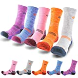 DearMy 5Pack of Women's Multi Performance Cushion Outdoor Hiking Crew Socks | Moisture Wicking | Gifts for Women | Year Round (Medium (Shoe size 8-10 US), Orange/Grey/Purple/Blue/Pink - 5pack)